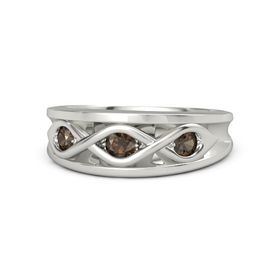 Round Smoky Quartz 18K White Gold Ring with Smoky Quartz