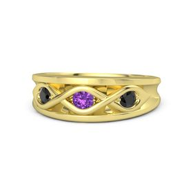 Round Amethyst 18K Yellow Gold Ring with Black Diamond