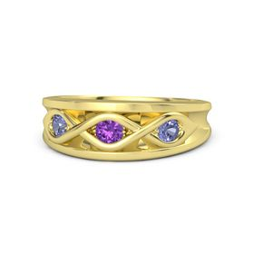 Round Amethyst 18K Yellow Gold Ring with Tanzanite
