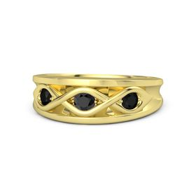Round Black Diamond 18K Yellow Gold Ring with Black Onyx