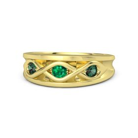 Round Emerald 18K Yellow Gold Ring with Alexandrite