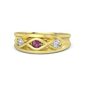 Round Rhodolite Garnet 18K Yellow Gold Ring with Diamond