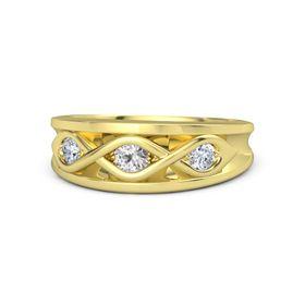 Round White Sapphire 18K Yellow Gold Ring with Diamond
