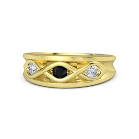Round Black Onyx 18K Yellow Gold Ring with Diamond