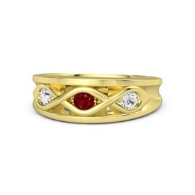 Round Ruby 18K Yellow Gold Ring with White Sapphire
