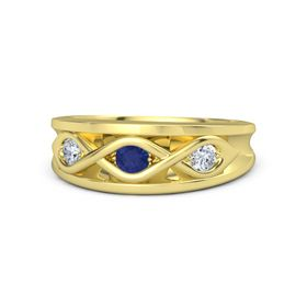 Round Sapphire 18K Yellow Gold Ring with Diamond