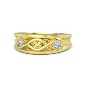 Round Yellow Sapphire 18K Yellow Gold Ring with Diamond