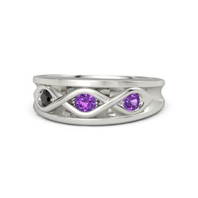 Round Amethyst Palladium Ring with Amethyst and Black Diamond