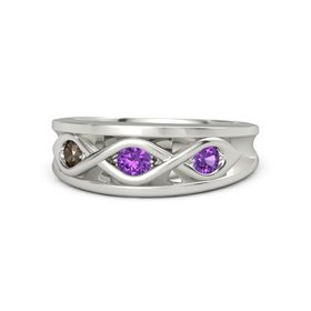 Round Amethyst Palladium Ring with Amethyst and Smoky Quartz