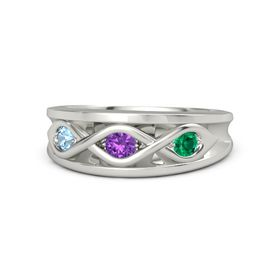Round Amethyst Palladium Ring with Emerald and Blue Topaz