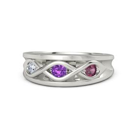 Round Amethyst Palladium Ring with Rhodolite Garnet and Diamond