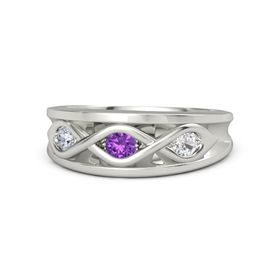 Round Amethyst Palladium Ring with White Sapphire and Diamond