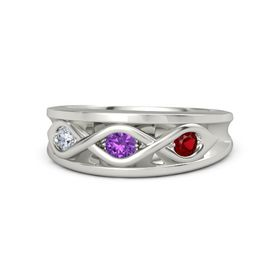 Round Amethyst Palladium Ring with Ruby and Diamond