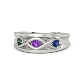 Round Amethyst Palladium Ring with Blue Sapphire and Alexandrite