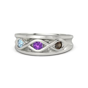 Round Amethyst Palladium Ring with Smoky Quartz and Blue Topaz