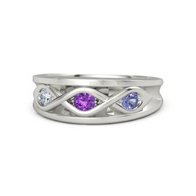 Round Amethyst Palladium Ring with Tanzanite and Diamond