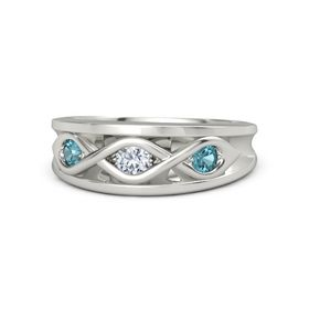 Round Diamond Palladium Ring with London Blue Topaz