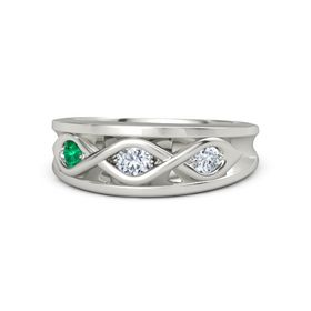 Round Diamond Palladium Ring with Diamond and Emerald