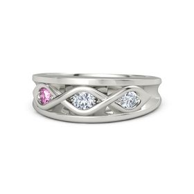 Round Diamond Palladium Ring with Diamond and Pink Sapphire