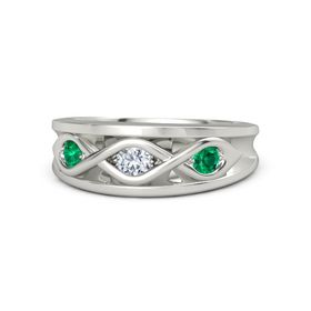 Round Diamond Palladium Ring with Emerald