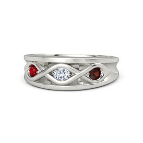 Round Diamond Palladium Ring with Red Garnet and Ruby