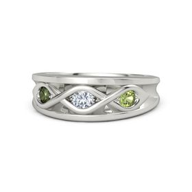 Round Diamond Palladium Ring with Peridot and Green Tourmaline