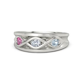 Round Diamond Palladium Ring with Aquamarine and Pink Tourmaline