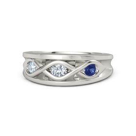 Round Diamond Palladium Ring with Blue Sapphire and Aquamarine