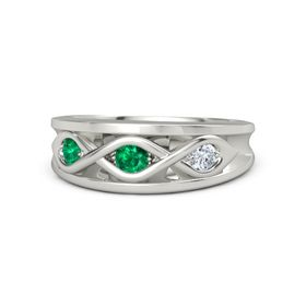 Round Emerald Palladium Ring with Diamond and Emerald