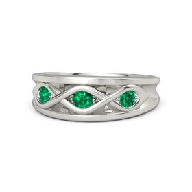 Round Emerald Palladium Ring with Emerald