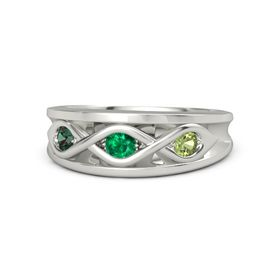 Round Emerald Palladium Ring with Peridot and Alexandrite