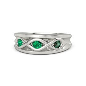 Round Emerald Palladium Ring with Alexandrite and Emerald