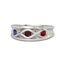 Round Red Garnet Palladium Ring with Ruby and Blue Sapphire