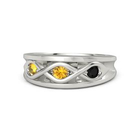 Round Citrine Palladium Ring with Black Onyx and Citrine