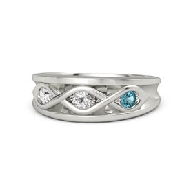 Round White Sapphire Palladium Ring with London Blue Topaz and White Sapphire