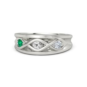 Round White Sapphire Palladium Ring with Diamond and Emerald