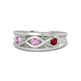 Round Pink Sapphire Palladium Ring with Ruby and Pink Sapphire