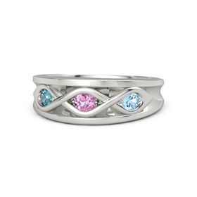Round Pink Sapphire Palladium Ring with Blue Topaz and London Blue Topaz