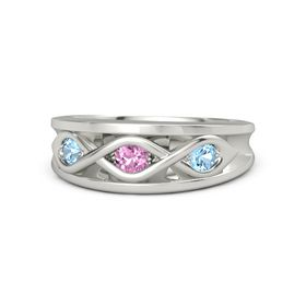 Round Pink Sapphire Palladium Ring with Blue Topaz
