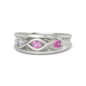 Round Pink Sapphire Palladium Ring with Pink Tourmaline and Diamond