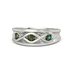 Round Green Tourmaline Palladium Ring with Alexandrite and Green Tourmaline