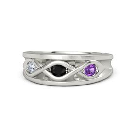 Round Black Onyx Palladium Ring with Amethyst and Diamond