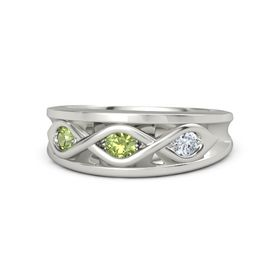 Round Peridot Palladium Ring with Diamond and Peridot