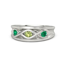 Round Peridot Palladium Ring with Emerald
