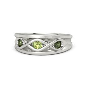 Round Peridot Palladium Ring with Green Tourmaline