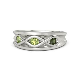 Round Peridot Palladium Ring with Green Tourmaline and Peridot