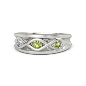 Round Peridot Palladium Ring with Peridot and Diamond