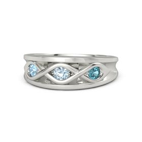 Round Aquamarine Palladium Ring with London Blue Topaz and Blue Topaz