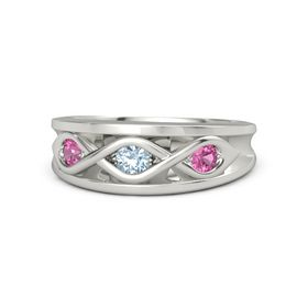 Round Aquamarine Palladium Ring with Pink Tourmaline