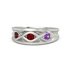 Round Ruby Palladium Ring with Amethyst and Red Garnet